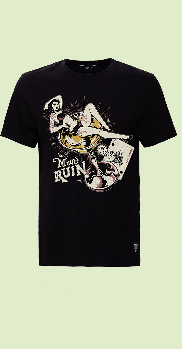 Rockabilly Clothing - T-Shirt - Man's Ruin - Black