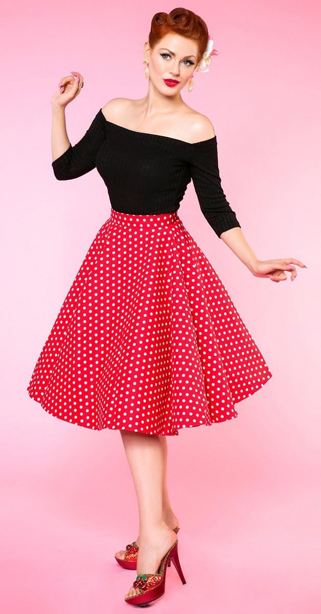 Vintage Fashion - Shirly High Waist Full Circle Polka Dot Skirt - Red/White