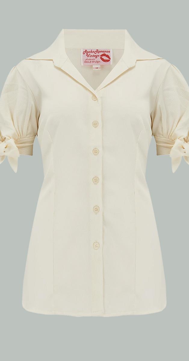 1950 Vintage Stil Bluse - Jane in Antique White