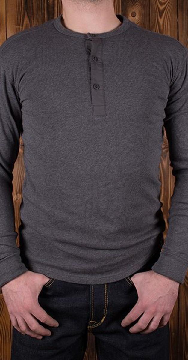 Vintage 1927 Henley Shirt long sleeve in Eisengrau