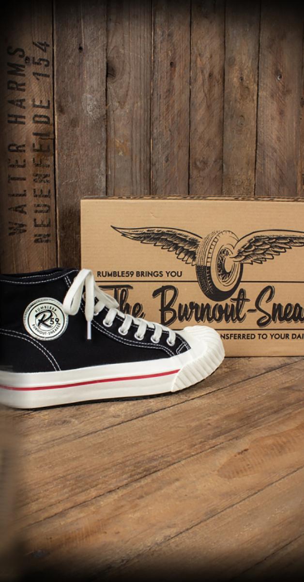 Rockabilly 1950´s Burnout Sneaker in schwarz