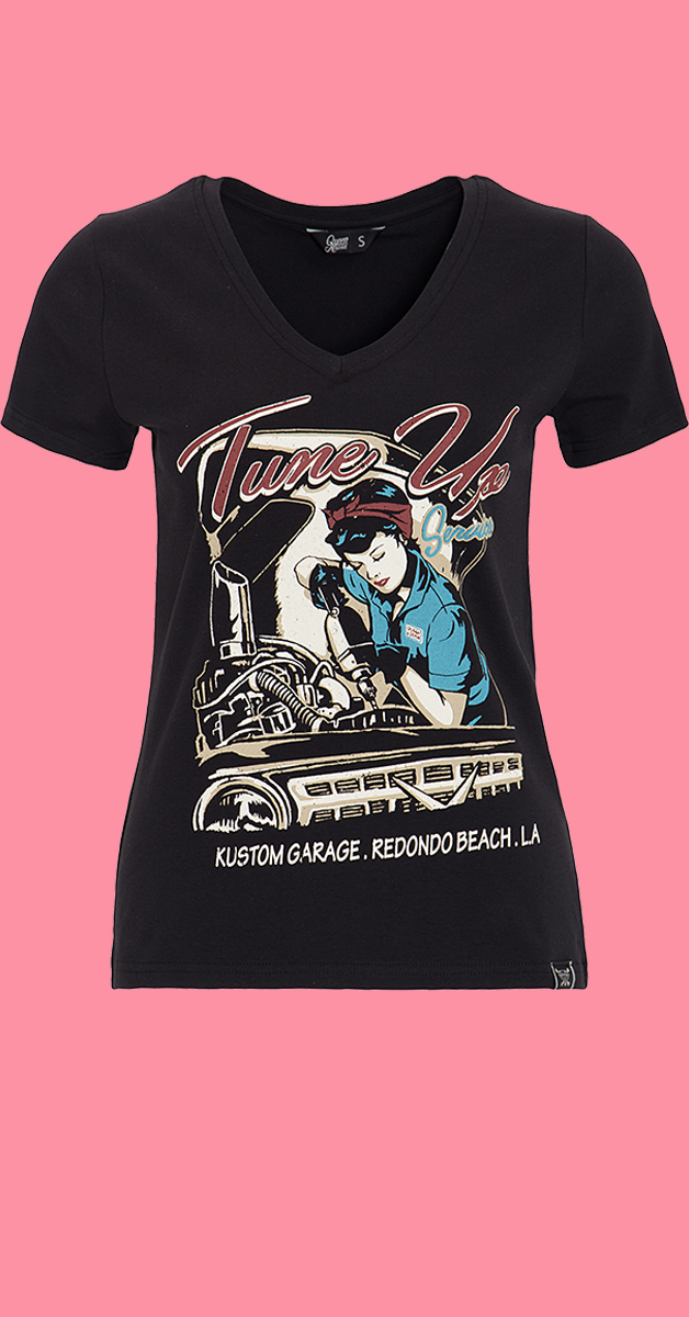 50s Style T-Shirt Tune Up in Black