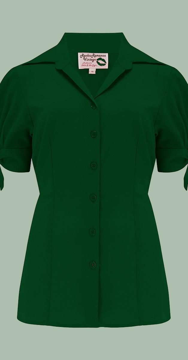 1950 Vintage Stil Bluse - Jane in Grün