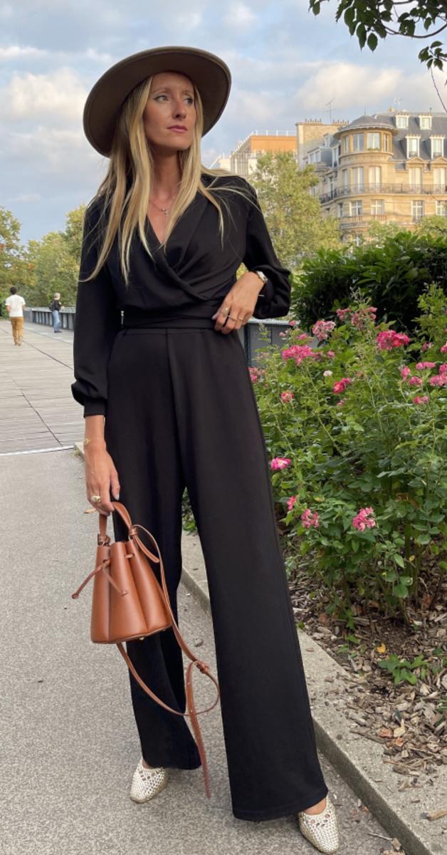 Vintage- Jersey Jumpsuit Emmylou in Crepe Black