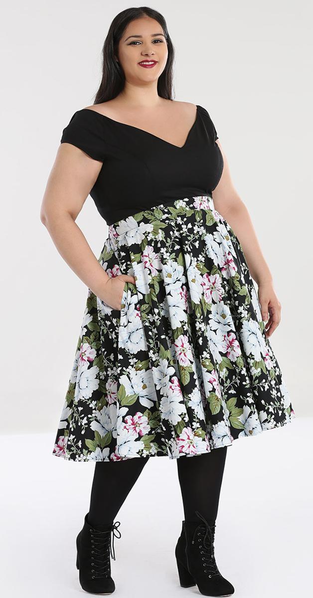 50s Swing Rock Alba schwarz mit Blumendruck