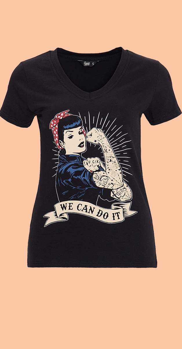 50s Style T-Shirt  We Can Do IT  in Black