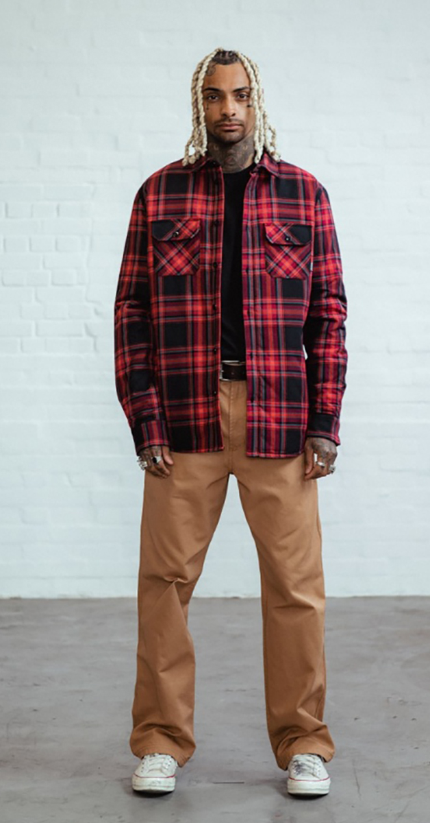 Rockabilly mode flannel checked overshirt red