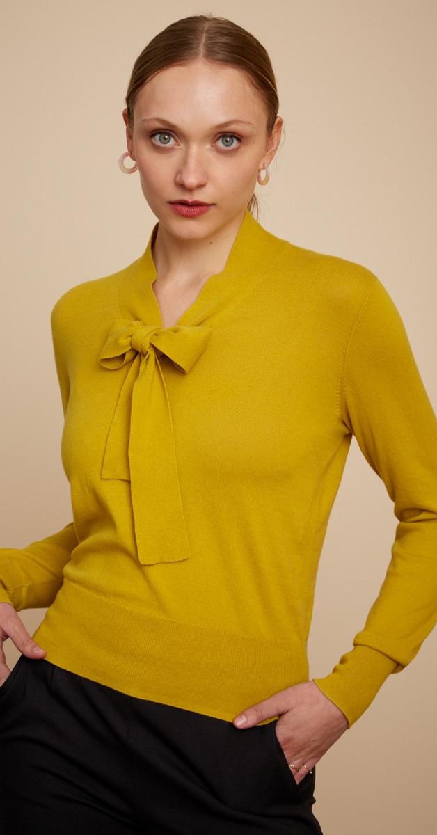 Retro- Ellen Bow Top Cottonclub in Spring Yellow