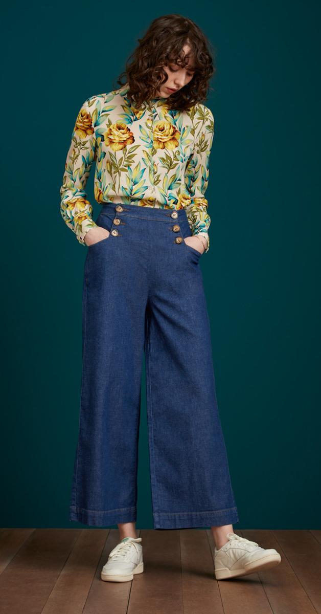 Vintage Stil Sheila Pant Chambray in Denim Blue