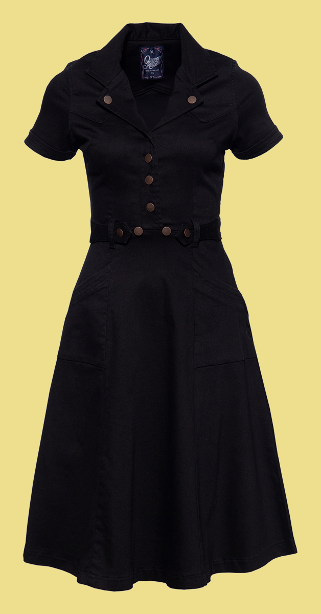 QueenKerosin 50s Style  Jeans Dress with A-Line Skirt