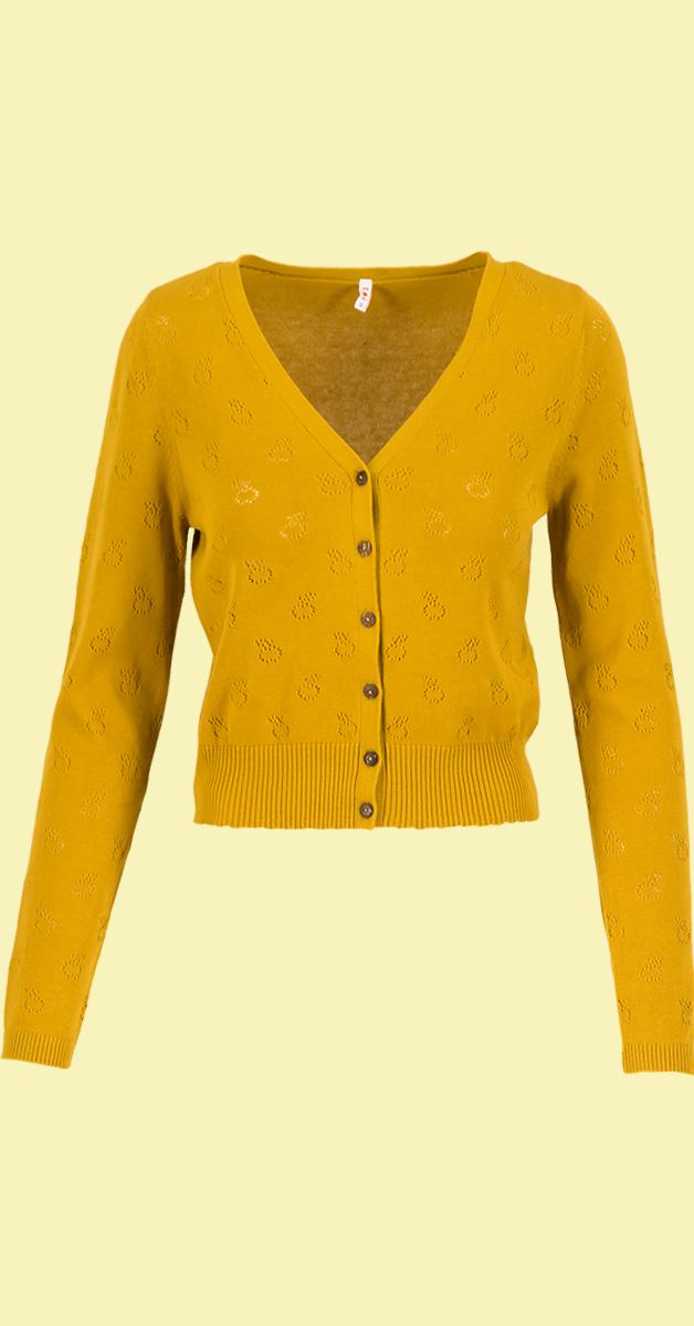 Vintage style cardigan-save the world-yellow apple pie