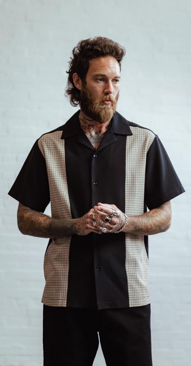 Rockabilly fashion donald shirt- black checked