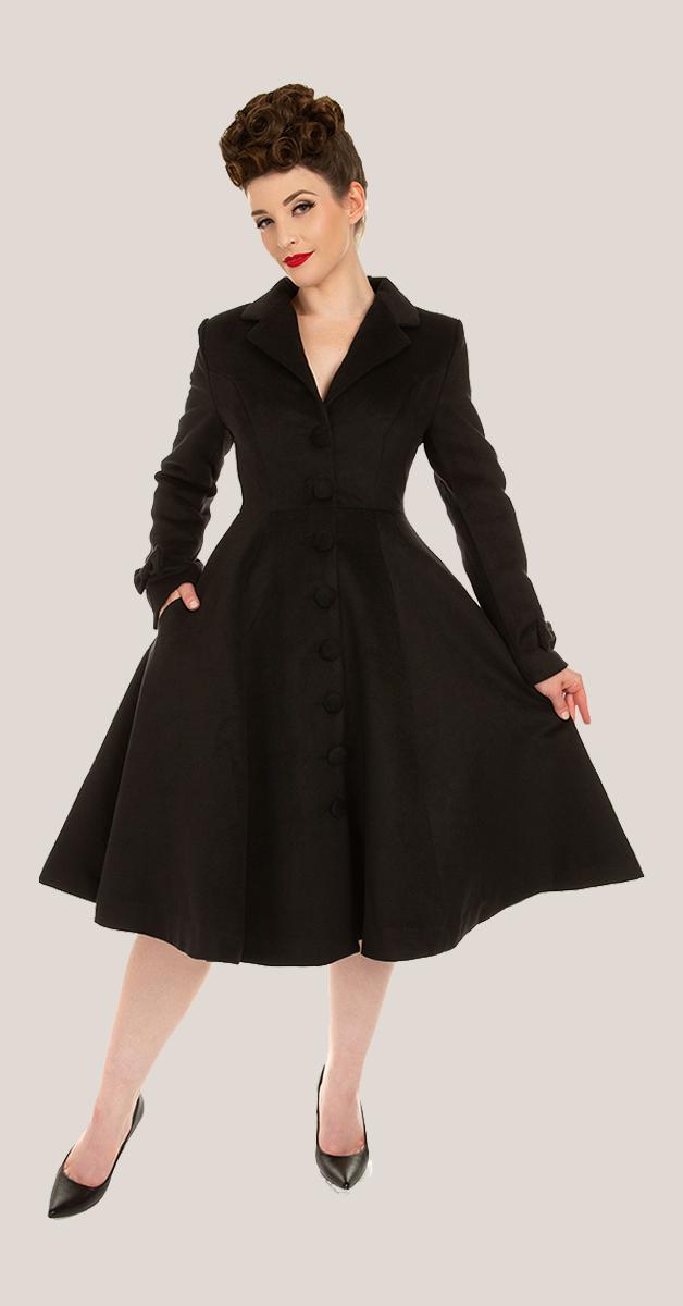 Vintage Stil Bekleidung - Harper 50s Swing Mantel