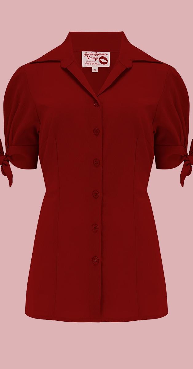 1950 Vintage Stil Bluse - Jane in Weinrot