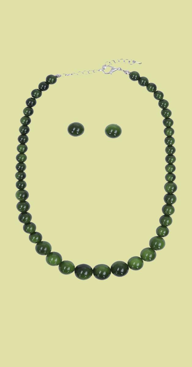 Vintage Schmuckset - Natalie Bead Necklace Set-Grün