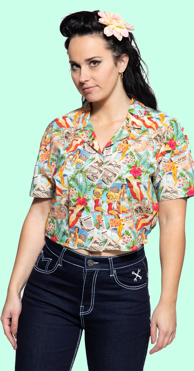 Cropped Oversize Blouse mit Allover-Print im 50s-Look