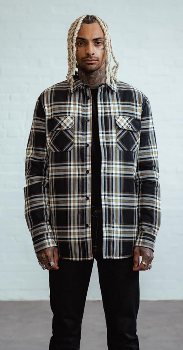 Rockabilly mode flannel checked overshirt mustard