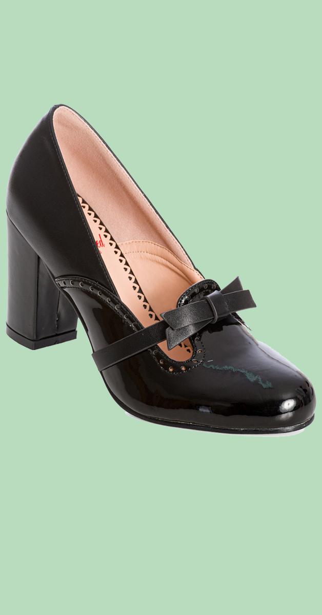 Vintage Stil Schuhe - Sweet Bow in schwarz