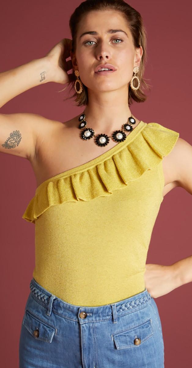 Retro & 50s Stil Kleidung - Ruffle Disco Top Lapis