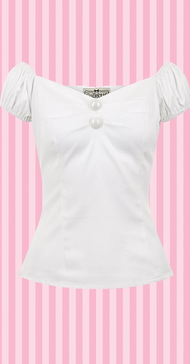 Vintage Stil Bekleidung - Dolores Top - Weiß