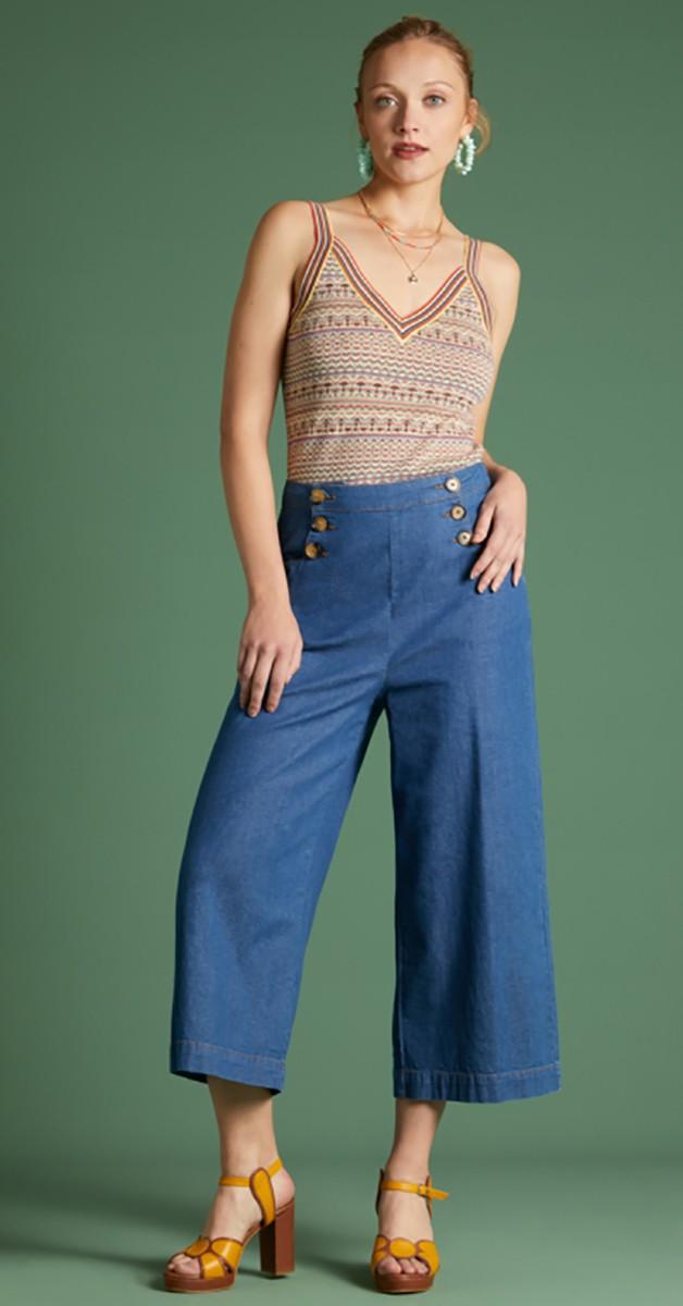 Vintage Stil 60's Mode - Sheila Pant Chambray