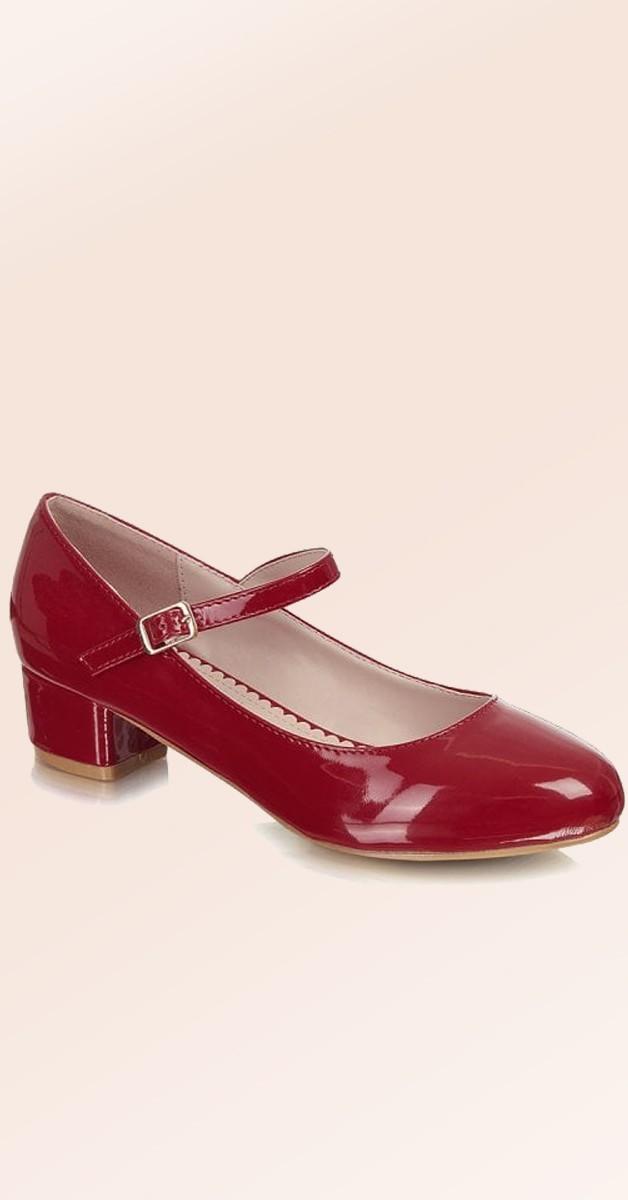 Vintage Stil Schuhe - Maryjane Block Heel - Rot