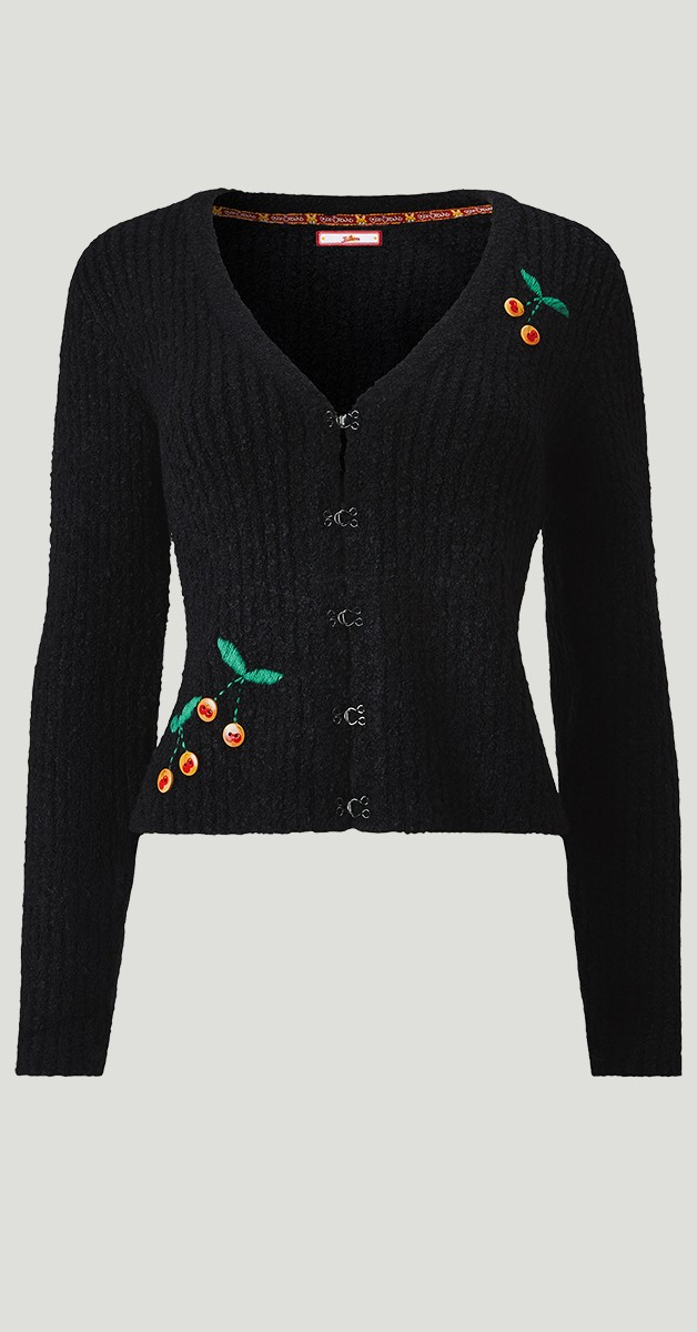 Vintage Stil Bekleidung - Weste - Cherry Boucle Cardigan