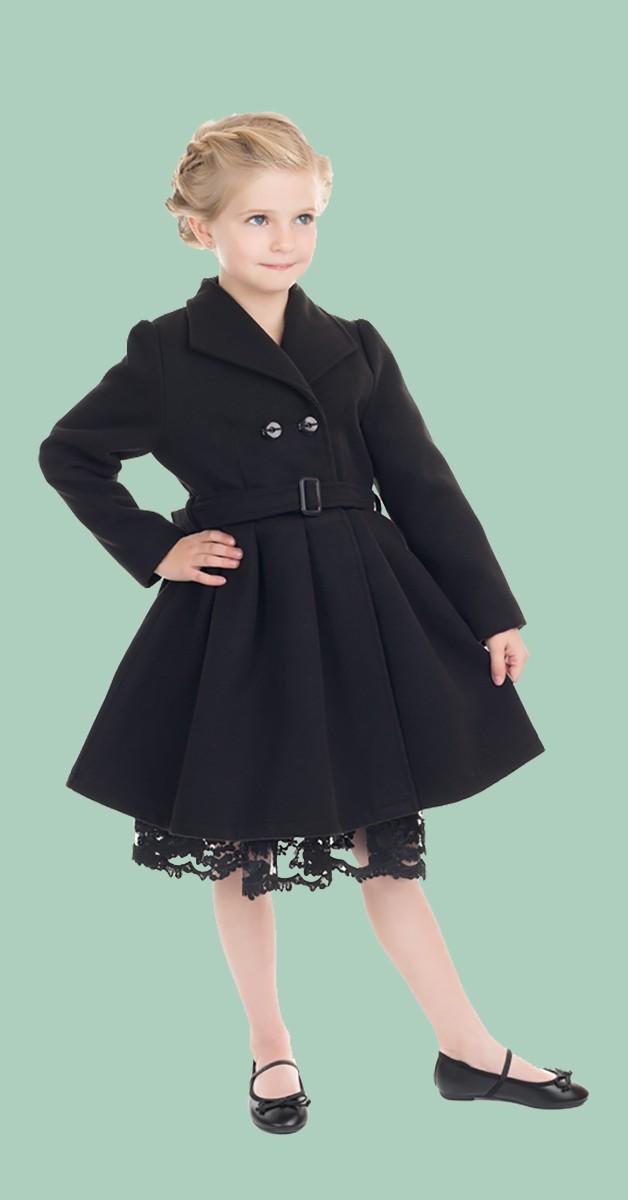 50s Kinderkleidung - Mantel - Vintage Swing Coat - Schwarz