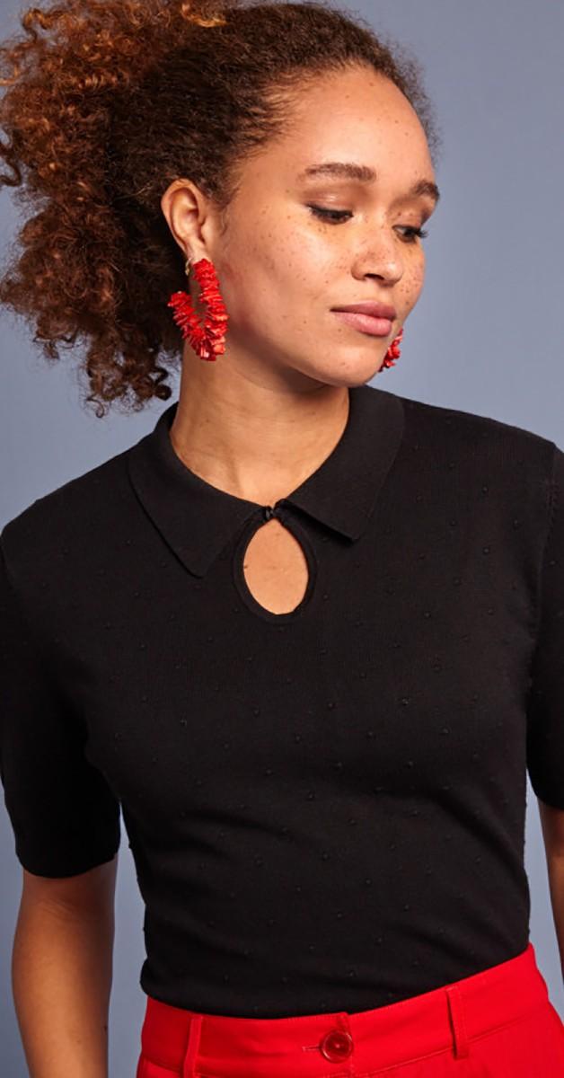 Retro Stil Bekleidung - Collar Knit Top Droplet