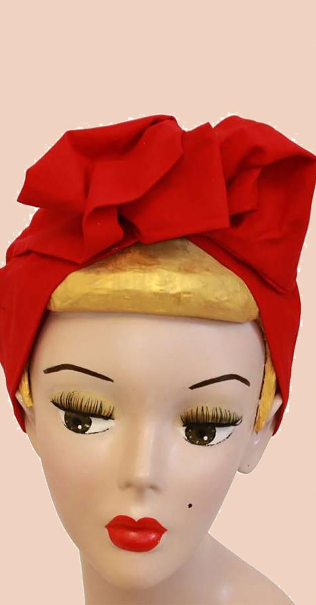 Vintage Accessoires - Turban Haarband - Rot