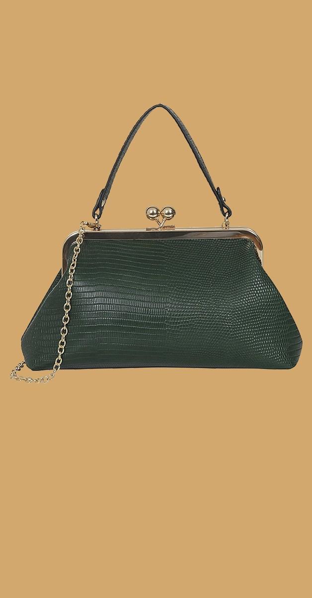 Vintage Retro Handtasche -Doris Croc bag- Grün