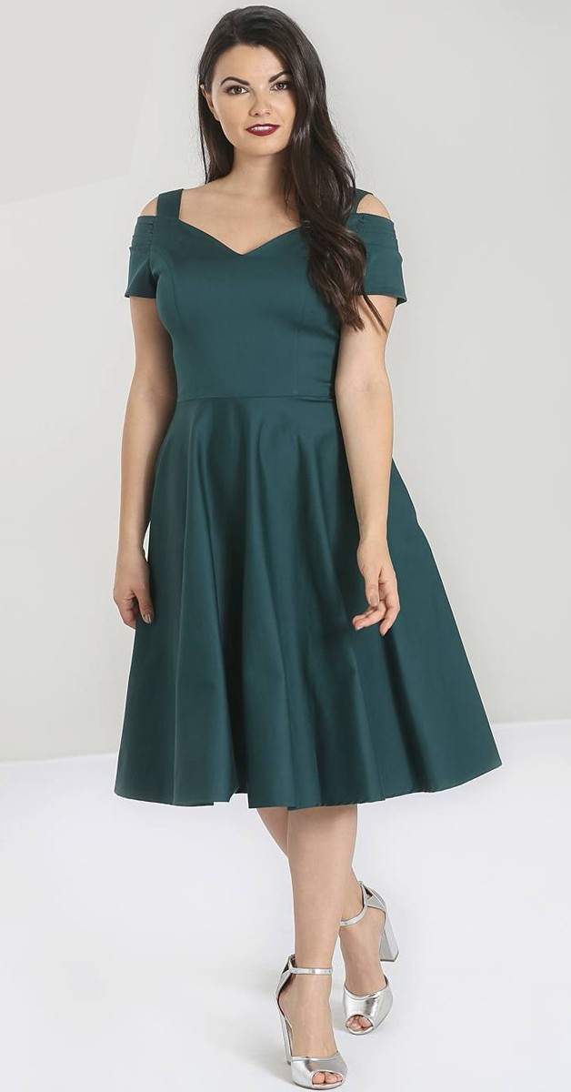 Vintage Stil Kleid - Helen  50's Dress - Dunkel Grün
