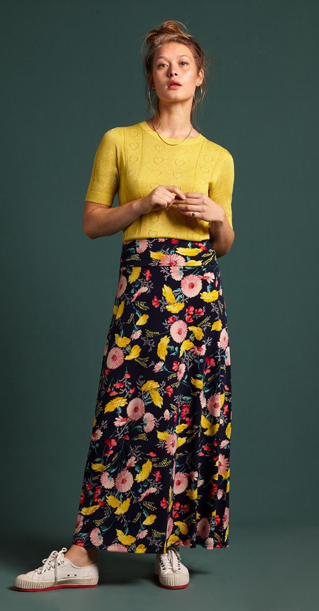 Vintage Mode - Rock - Border Maxi Skirt Rosabelle