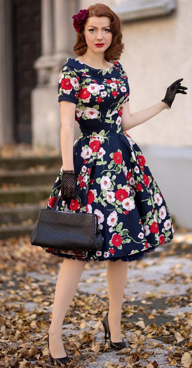 Vintage Stil 50s Swing Kleid -Darlene - Dunkelblau mit Blumen