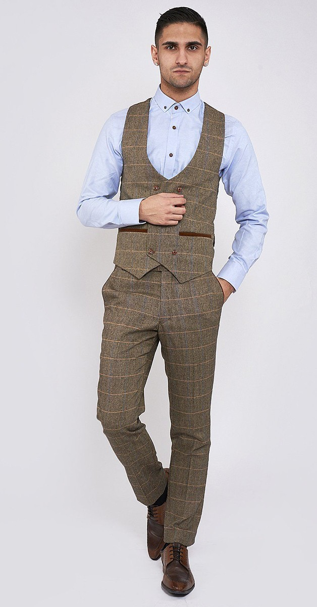 Vintage Bekleidung - Ted - Tan Tweed Check Zweireihige Weste - Braun