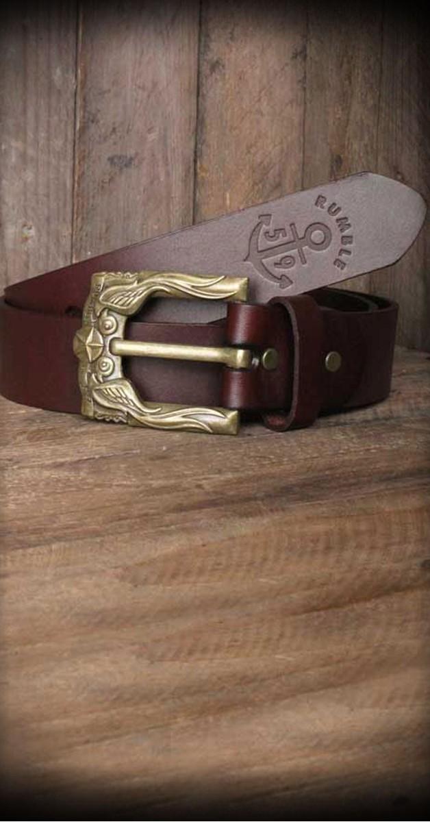 Rockabilly Accessoires - Ledergürtel Mit Schwalben-Buckle - Rotbraun