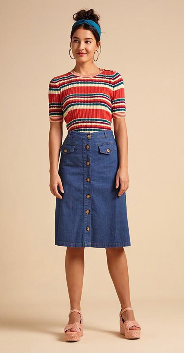 Vintage Mode - Rock -  Caroll  Skirt Chambray