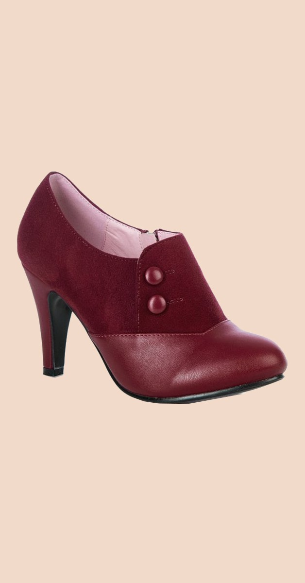 Vintage Stil Schuhe - Maria Half Boot - Burgunderrot