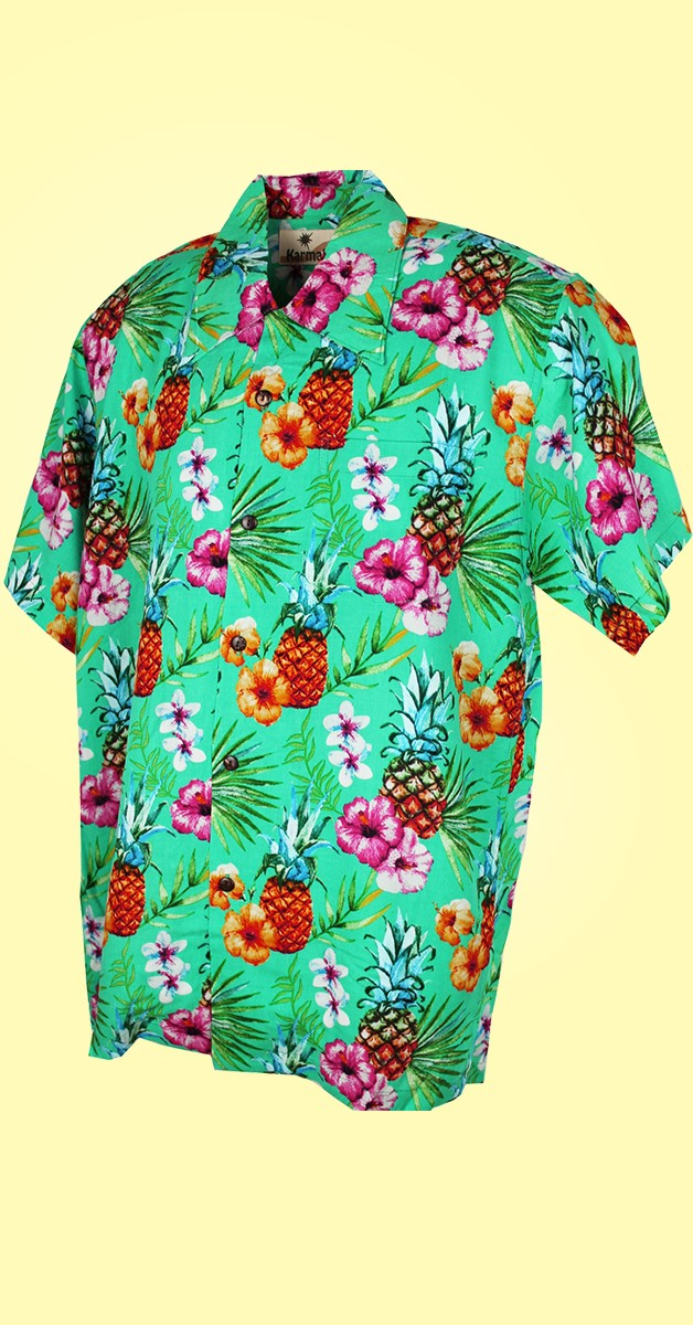 Retro Hemd - Hawaii Hemd - Pineapple - Grün