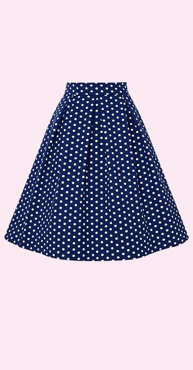 Vintage Mode - Shirly High Waist Full Circle Polka Dot Skirt - Navy/Weiß