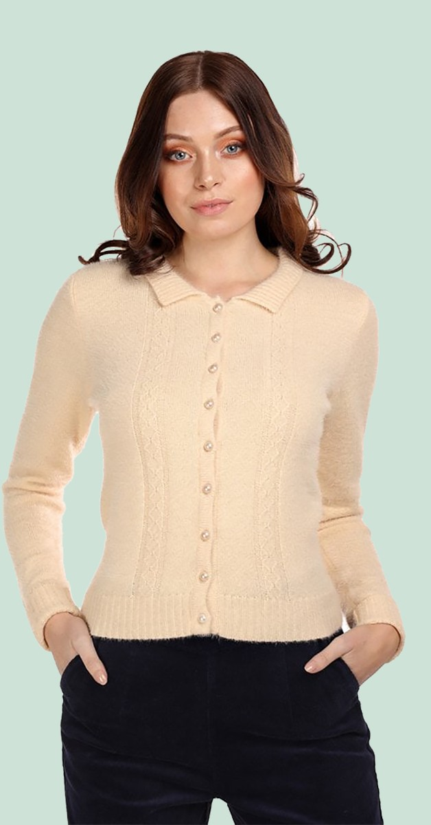 Vintage Kleidung - Weste - Cara Cardigan - Cremefarben