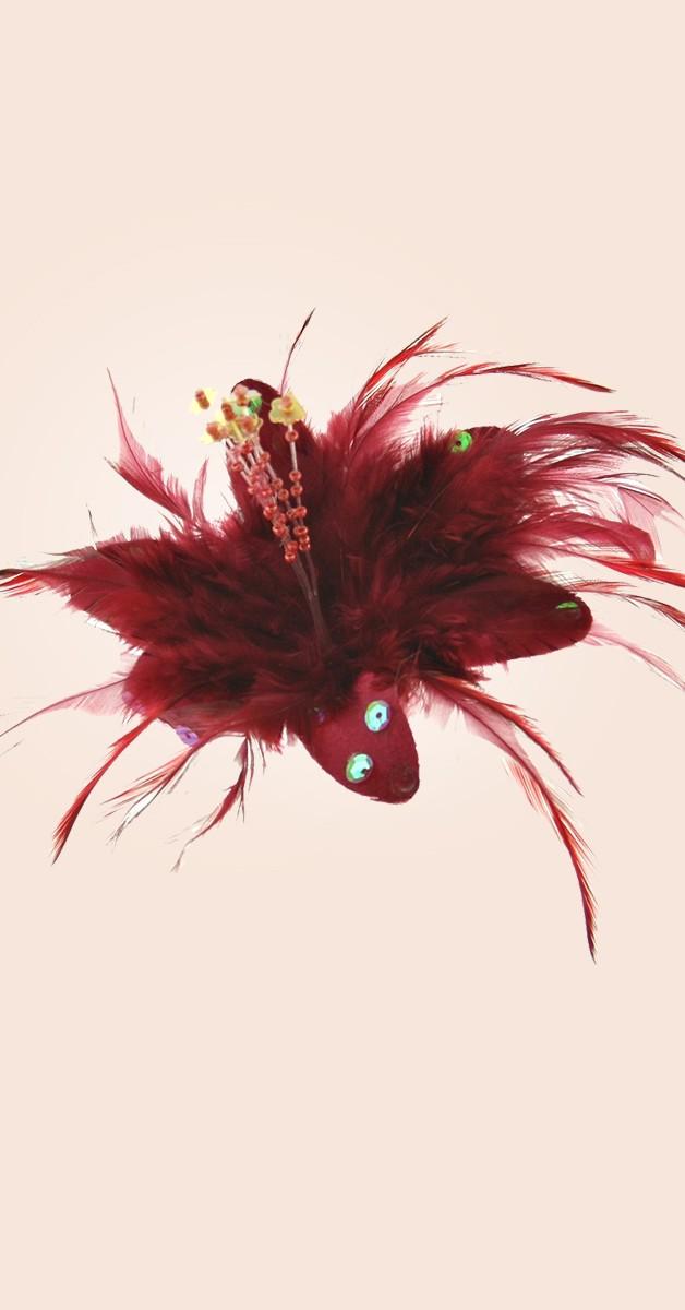Pin Up Haarclip/Brosche - Blume mit Pailletten und Federn - Burgunderrot
