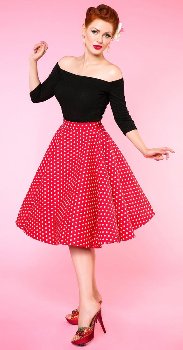 Vintage Mode - Shirly High Waist Full Circle Polka Dot Skirt - Rot/Weiß