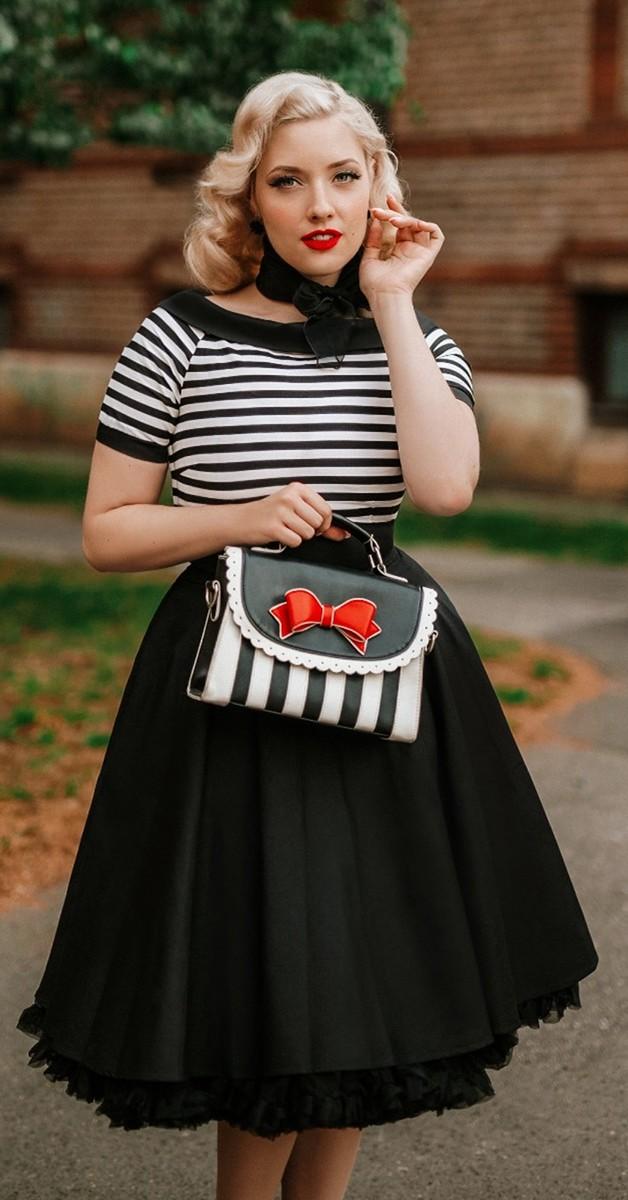Vintage Mode -50er Jahre Stil Streifen Kleid - Darlene - Schwarz Weiß