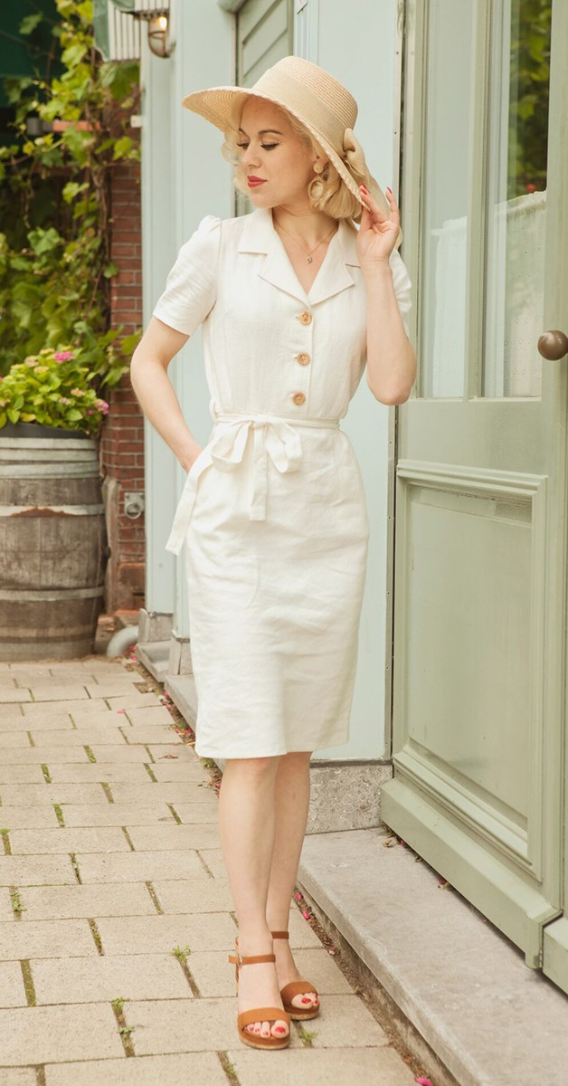 Vintage  Mode - Revers Dress Straight Linnen Ecru - Naturfarben