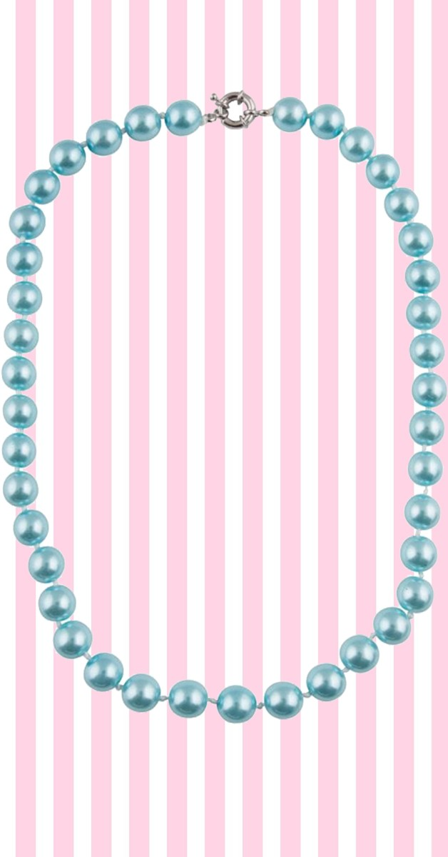 Retro Stil Kette - Dainty Pearl Necklace - Blau