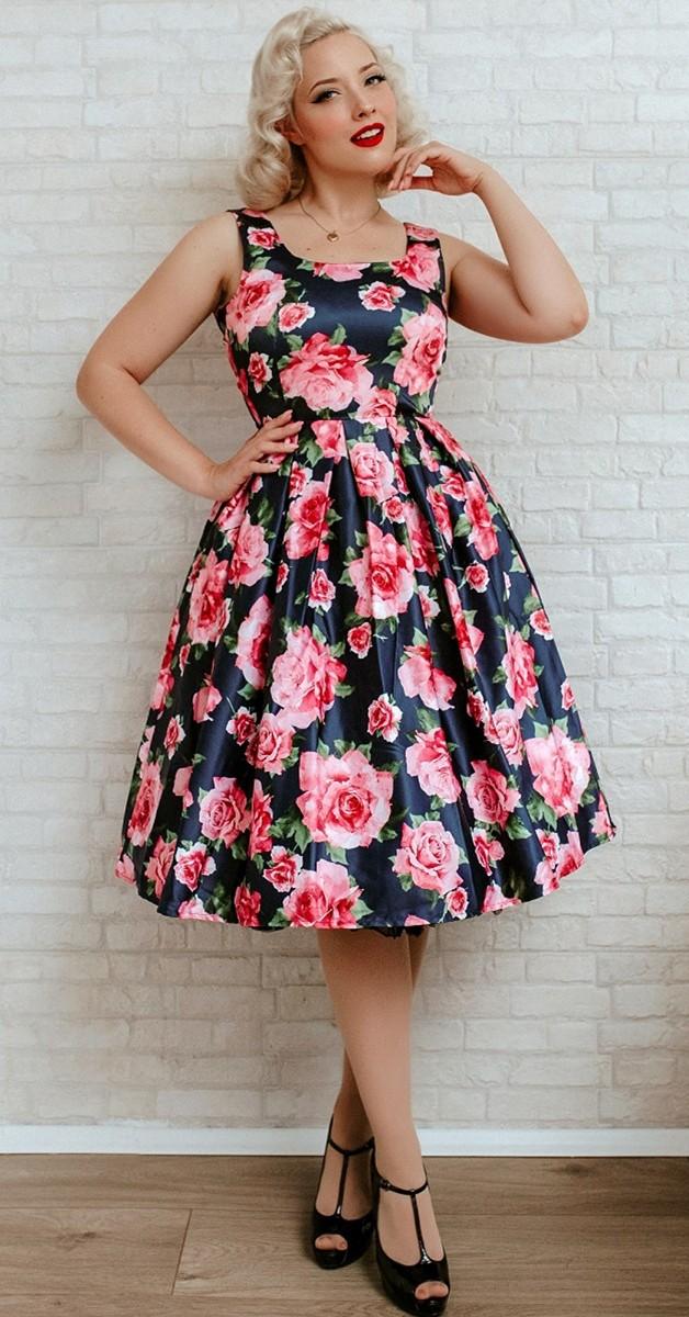 Vintage Stil 50s Swing Kleid Amanda- Dunkerblau mit Rosa Rosen