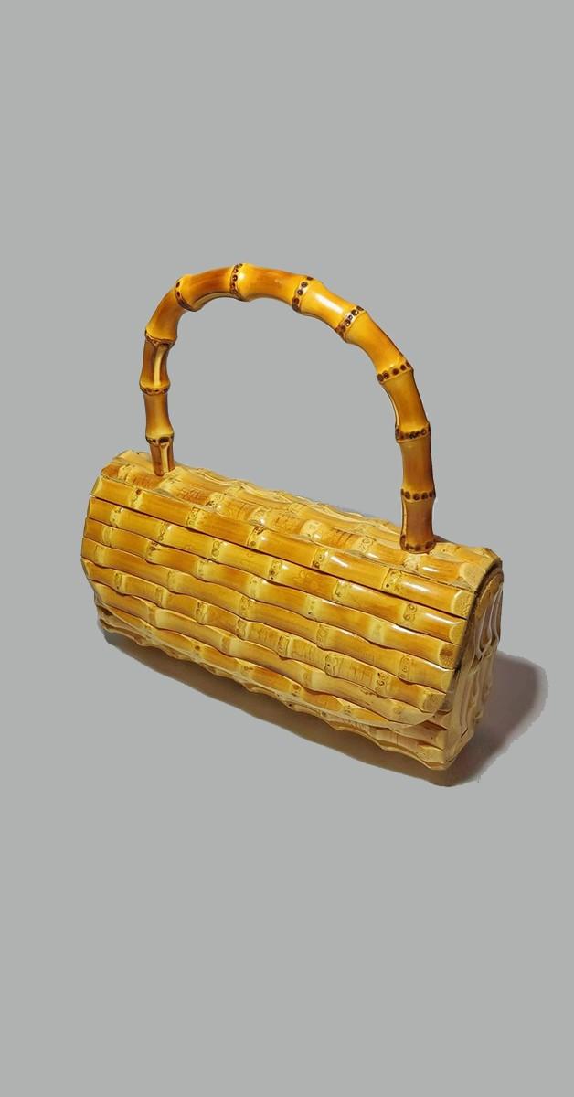 50er Jahre Handtasche - Bambus Clutch Handtasche - Hellbraun