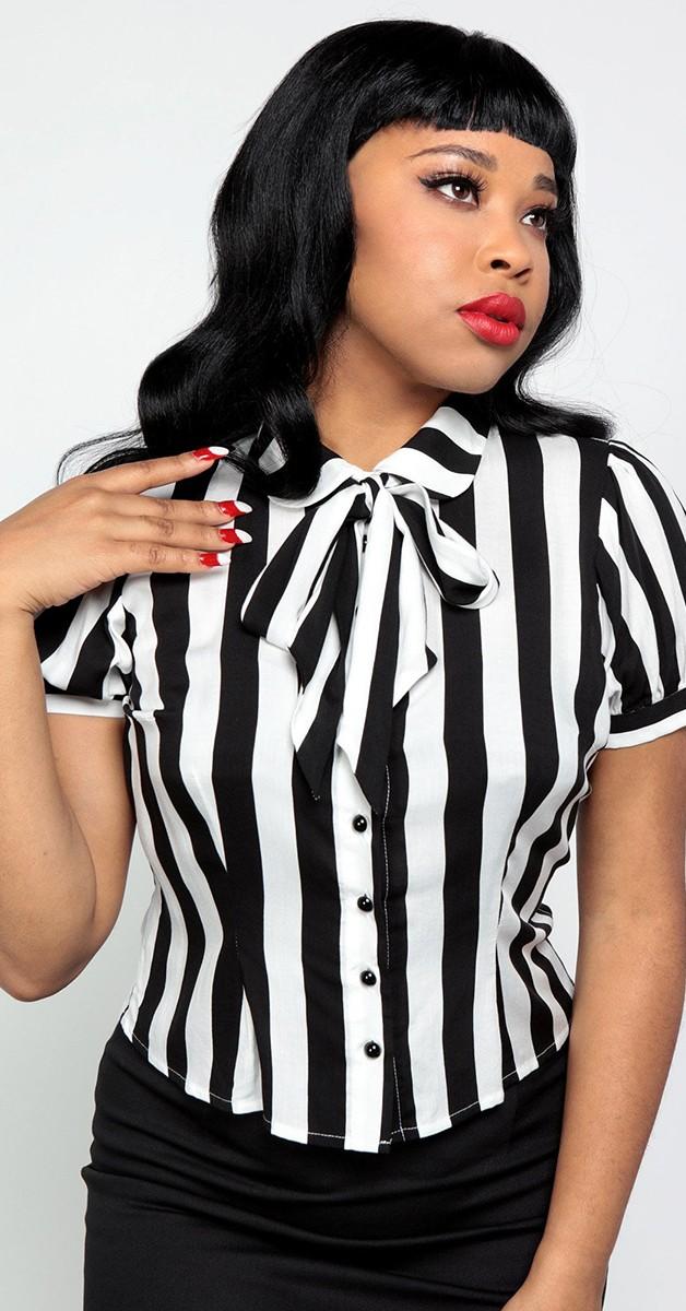 Vintage Stil Bekleidung - 40's Erika Beetle Stripe Bluse