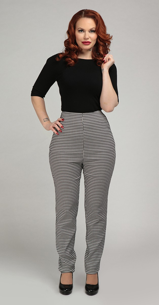 Vintage Mode - Hose Odila Houndstooth Skinny Trouses